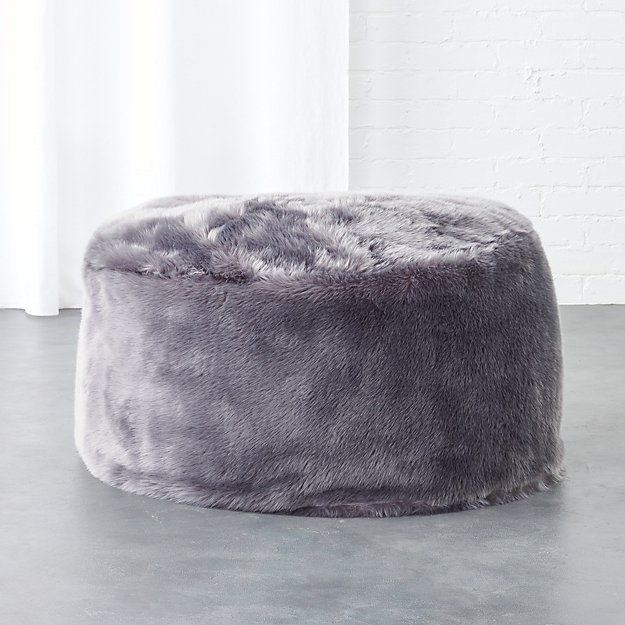 faux fur grey pouf