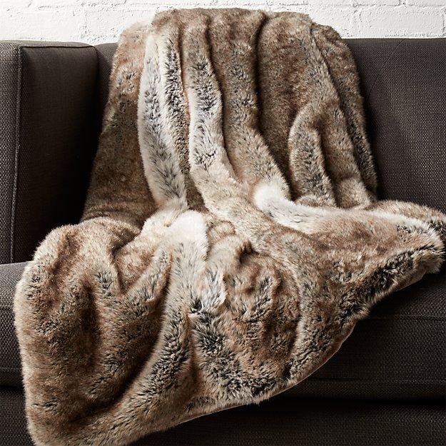 Light Grey Faux Fur Throw In Throws Reviews Cb2
