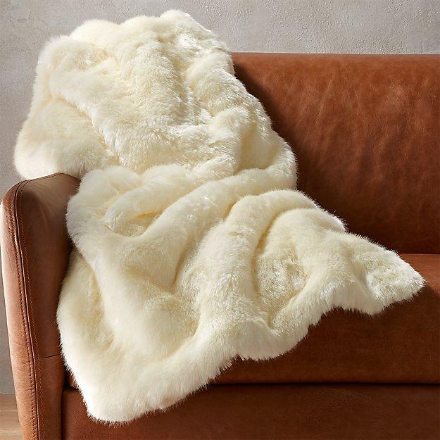 White Faux Fur Throw Blanket CB2