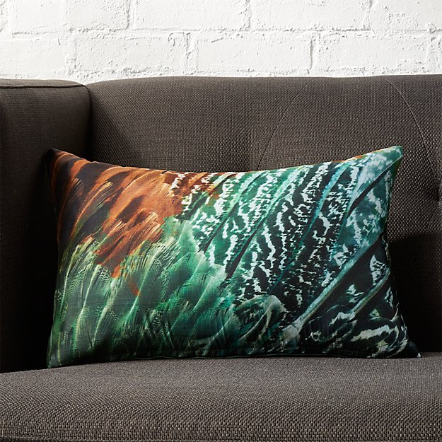"""18""""x12"""" Feather Silk Pillow with Feather-Down Insert"""