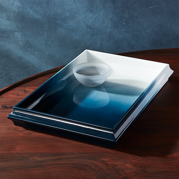 fedo ombre blue lacquer tray
