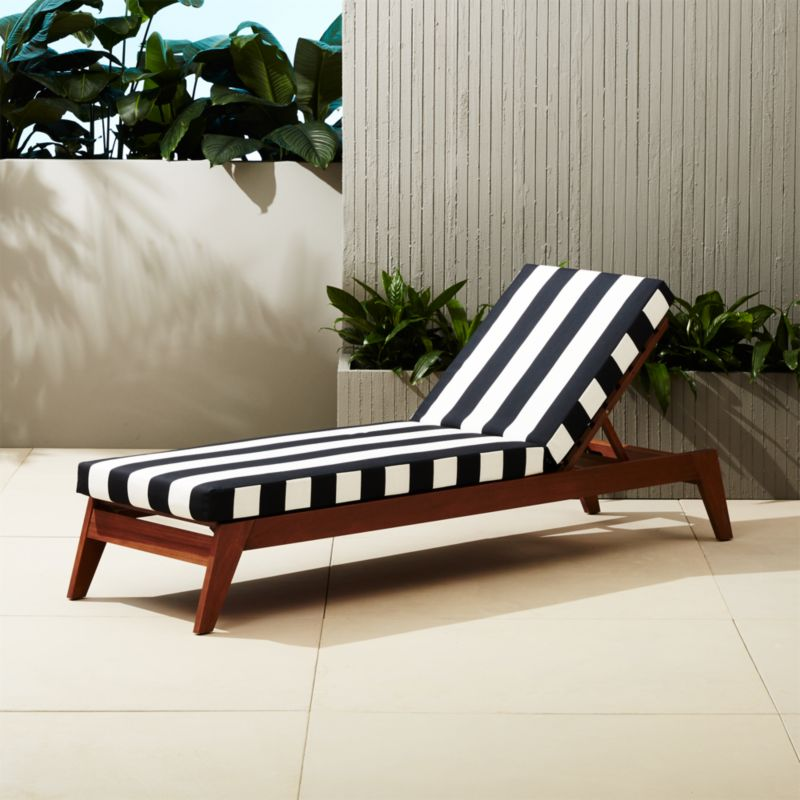 Filaki black and white striped chaise lounge cb2 for Blue and white striped chaise lounge cushions