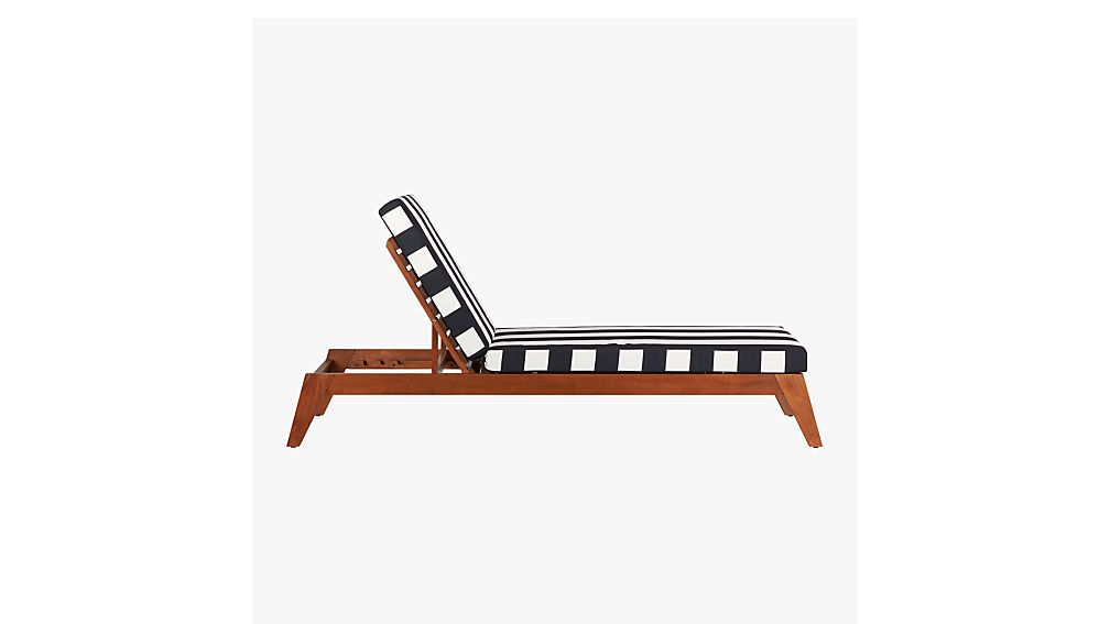 filaki lounger with black and white stripe cushion