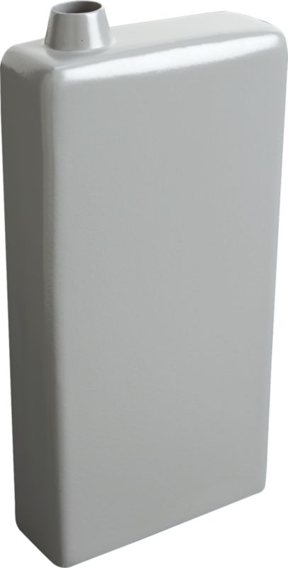 """<span class=""""copyHeader"""">bloom box.</span> Bold iron rectangle gleams in slick grey powdercoat. Sleek, narrow and modern, exaggerated scale contrasts mini off-center opening to host a single bloom. Arresting empty, too.<br /><br /><NEWTAG/><ul><li>Handcrafted</li><li>Iron</li><li>Grey hi-gloss powdercoat</li><li>Wipe with soft, dry cloth</li></ul>"""