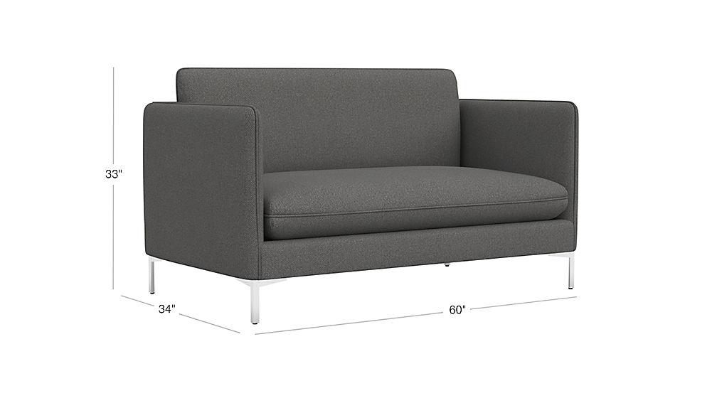 flatiron grey apartment size sofa | CB2