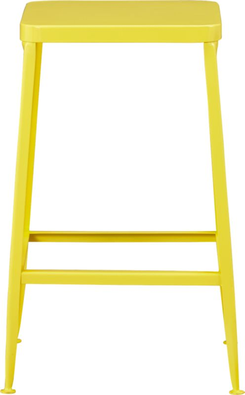 """<span class=""""copyHeader"""">pop industry.</span> Factory-inspired stool pops the bar in bright yellow powdercoat, squared off in handwelded steel. Legs flare refined, love those little capped feet. Each a handcrafted original. Entertains indoors or out.<br /><br /><NEWTAG/><ul><li>Handcrafted steel with yellow powdercoat finish</li><li>Flared legs</li><li>Feet have protective pads</li><li>24""""H seat sized for counters</li><li>Each is unique</li><li>Indoor or protected outdoor use</li></ul>"""