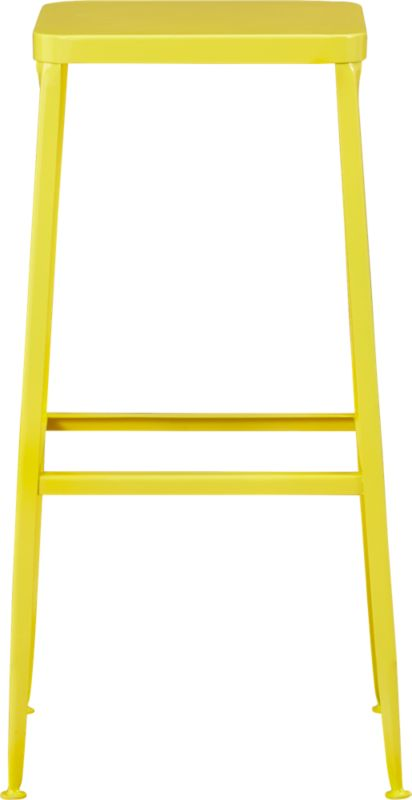 """<span class=""""copyHeader"""">pop industry.</span> Factory-inspired stool pops the bar in bright yellow powdercoat, squared off in handwelded steel. Legs flare refined, love those little capped feet. Each a handcrafted original. Entertains indoors or out.<br /><br /><NEWTAG/><ul><li>Handcrafted steel with yellow powdercoat finish</li><li>Flared legs</li><li>Feet have protective pads</li><li>30""""H seat sized for counters</li><li>Each is unique</li><li>Indoor or protected outdoor use</li></ul>"""