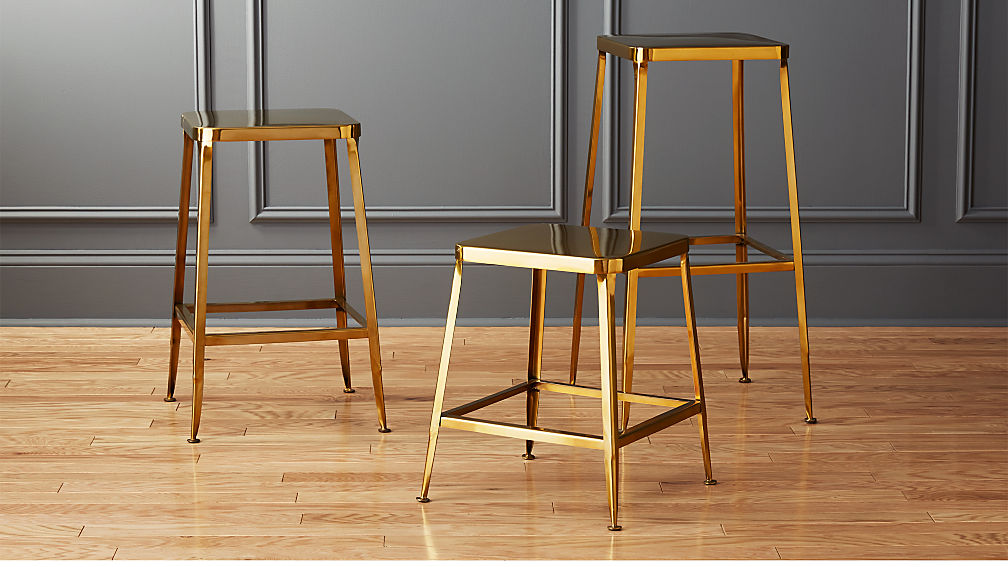 - Flint Gold Bar Stools CB2