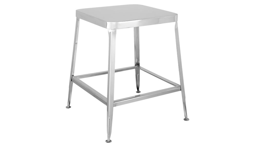 "flint shiny silver 18"" stool"