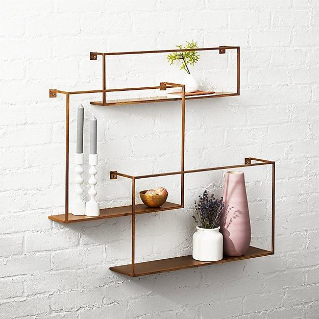 Contemporary Wall Shelves Decorative: Antiqued Brass Floating Shelves Set Of 3 + Reviews