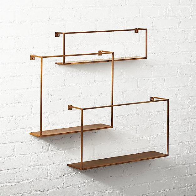 Antiqued Brass Floating Shelves Set of 3