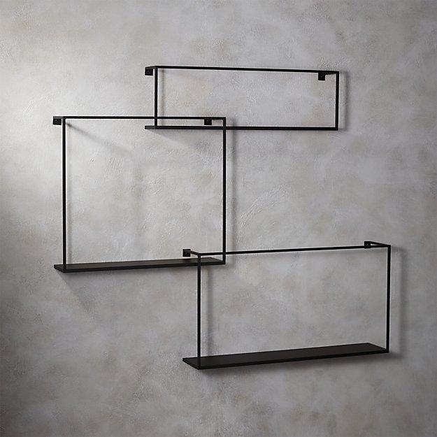 3 piece large matte black floating shelves cb2