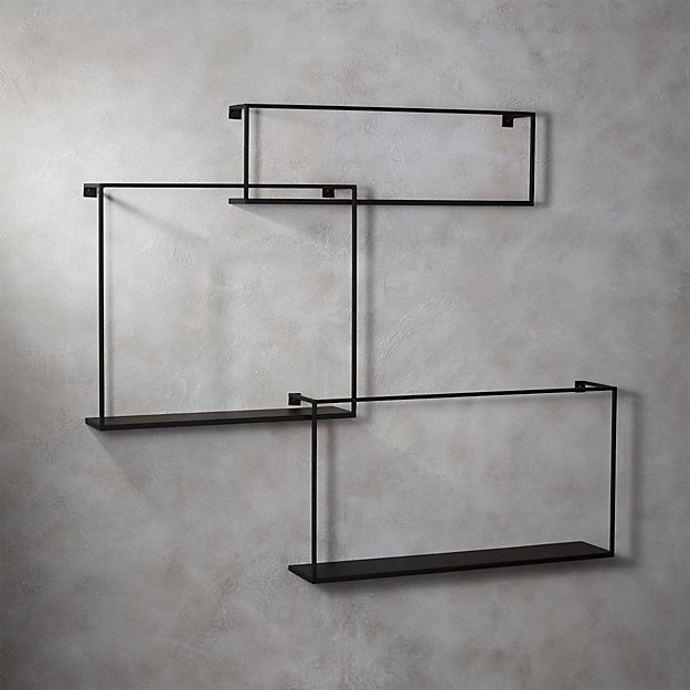 3 large matte black floating shelves cb2
