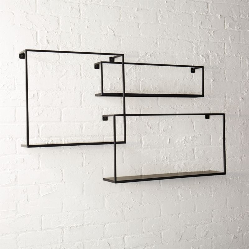 Floting Shelves set of 3 iron floating shelves | cb2
