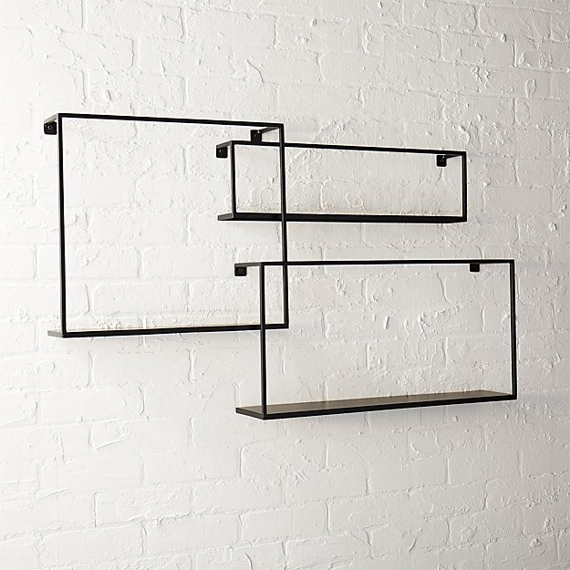 Floating Shelves set of 3 iron floating shelves | cb2