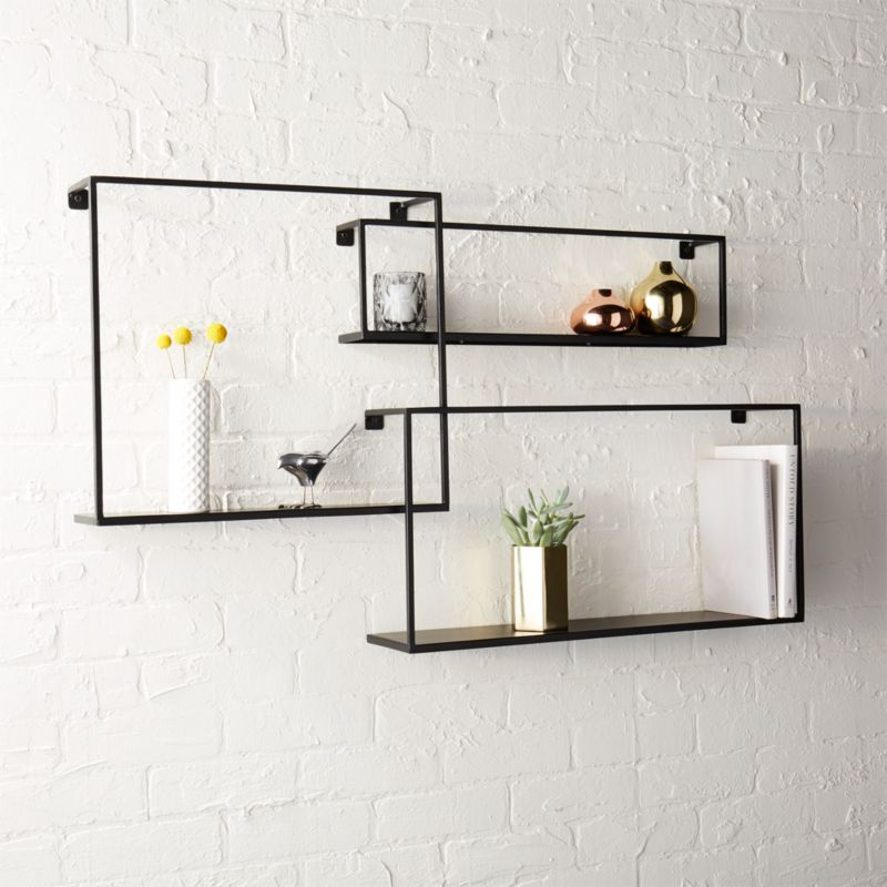 Online Designer Living Room matte black floating shelves set of 3