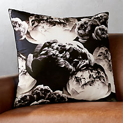 "23"" Black Flora Pillow with Down-Alternative Insert"