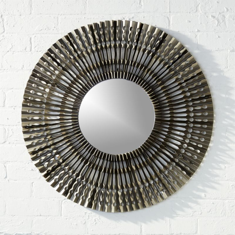 Folded metal wall mirror cb2 for Metal miroir