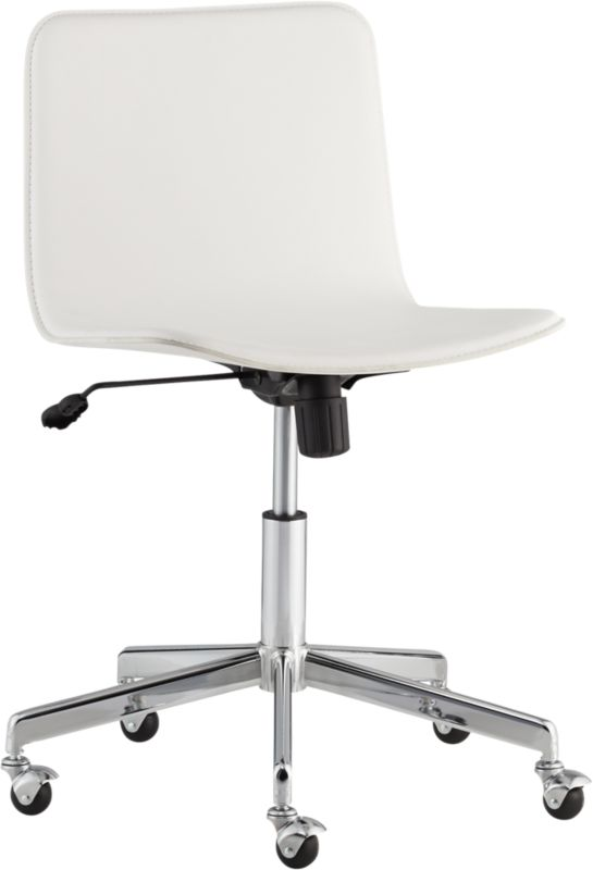 form faux white leather office chair CB2