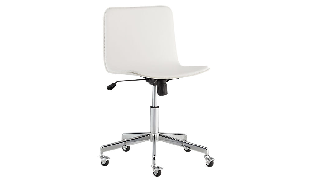 form faux white leather office chair | cb2