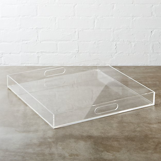Acrylic Clear Square Tray Cb2