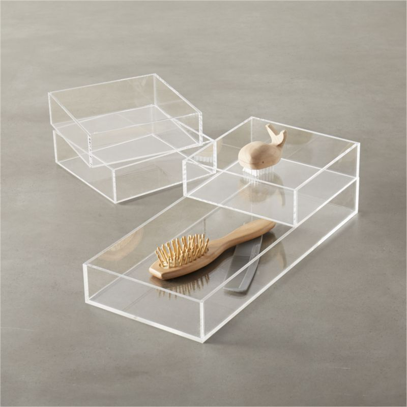 Acrylic bath accessories cb2 for Clear bathroom accessories