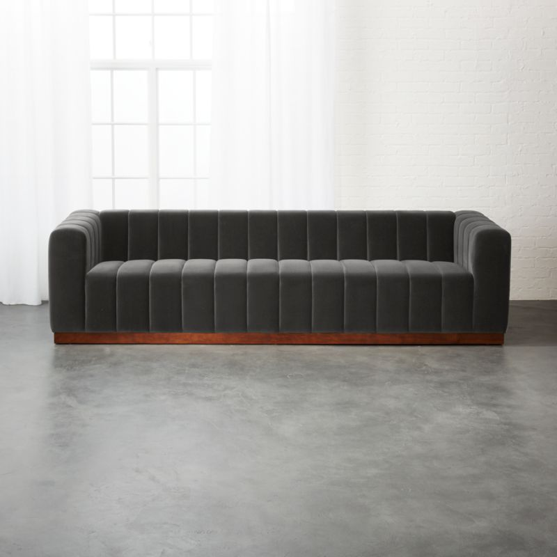 Forte Channeled Charcoal Velvet Sofa Reviews Cb2