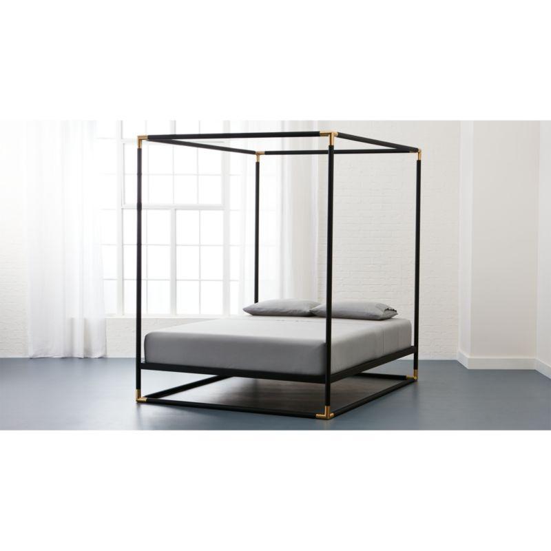 frame black metal canopy bed CB2