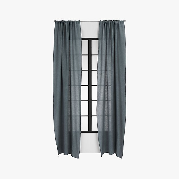 graphite linen curtain panel