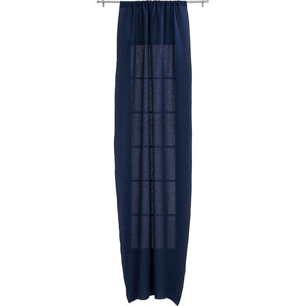 """navy linen curtain panel 48""""x108"""""""
