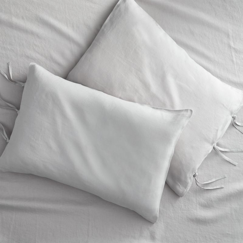 set of 2 linen shale standard pillowcases
