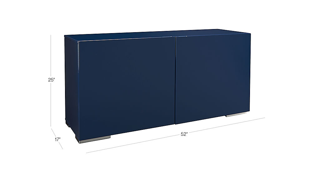 Navy Blue Lacquered Credenza Cb2