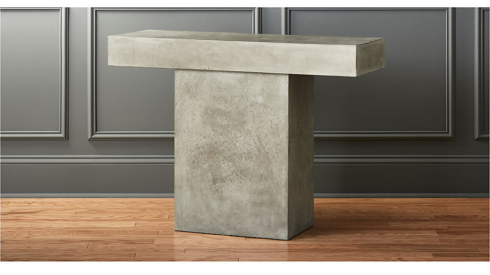 fuze grey cement console table reviews cb2. Black Bedroom Furniture Sets. Home Design Ideas
