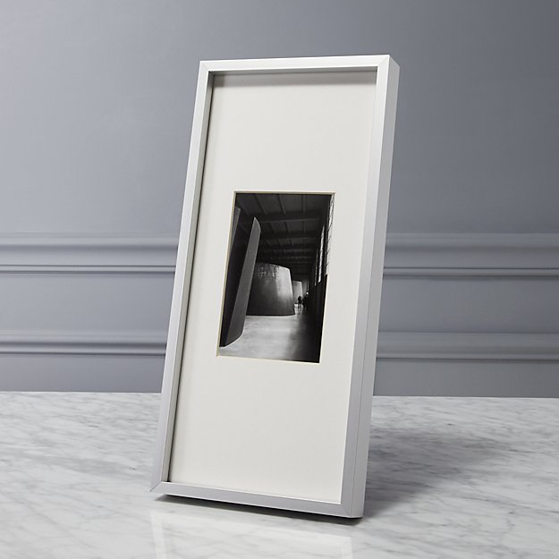 gallery brushed silver 4x6 picture frame cb2. Black Bedroom Furniture Sets. Home Design Ideas