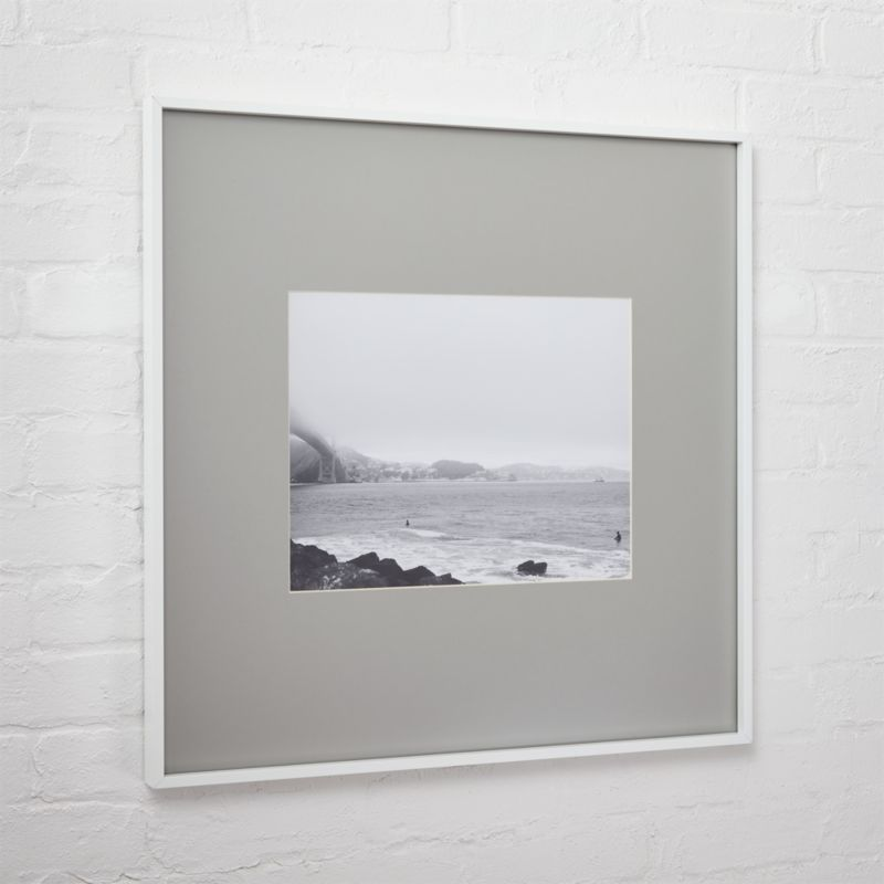 . gallery white 11x14 picture frame with grey mat   CB2