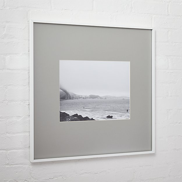 gallery white 11x14 picture frame with grey mat