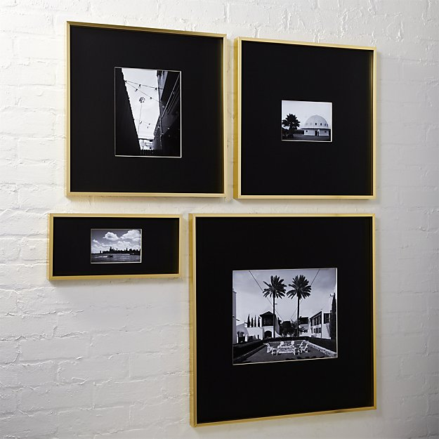gallery brass picture frames with black mats