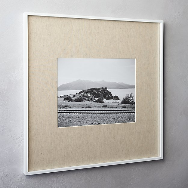 gallery white 11x14 picture frame with linen mat. gallery white 11x14 picture frame with linen mat   CB2