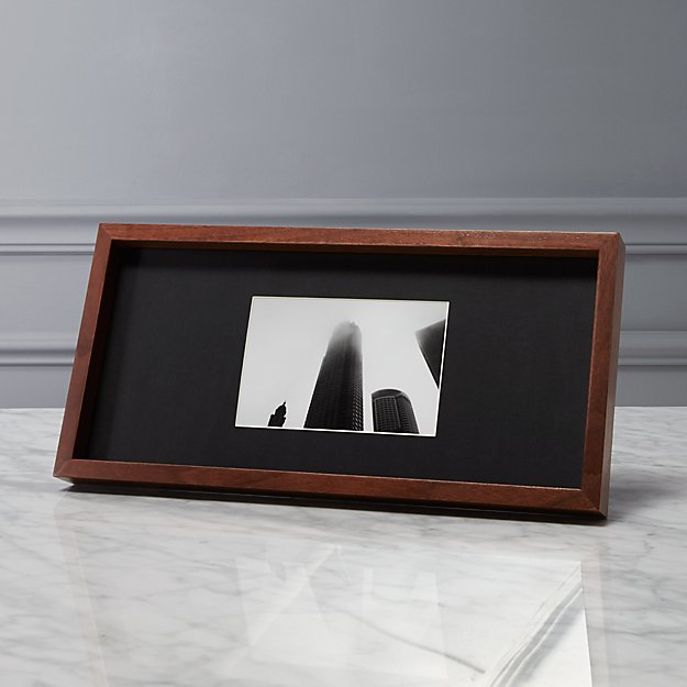 Gallery Walnut 4x6 Picture Frame With Black Mat Cb2