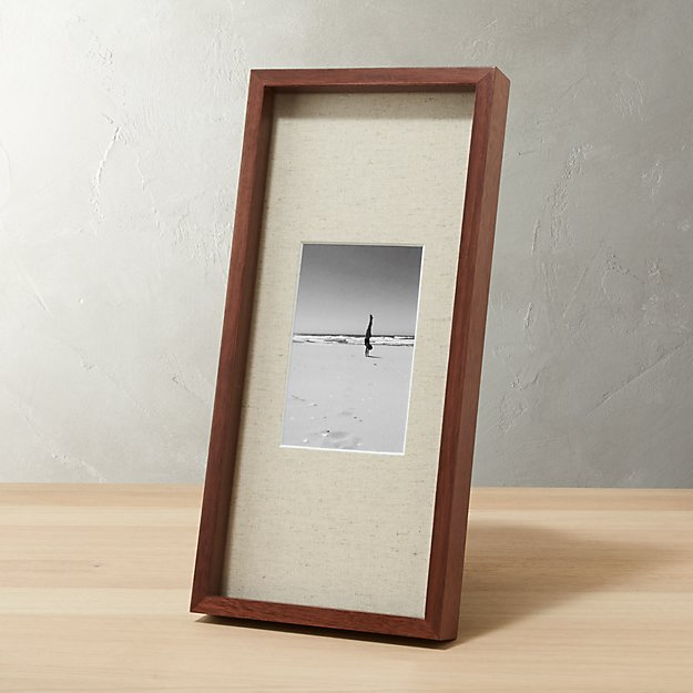gallery walnut 4x6 picture frame with linen mat cb2. Black Bedroom Furniture Sets. Home Design Ideas