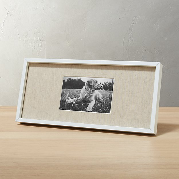 gallery white 4x6 picture frame with linen mat cb2. Black Bedroom Furniture Sets. Home Design Ideas
