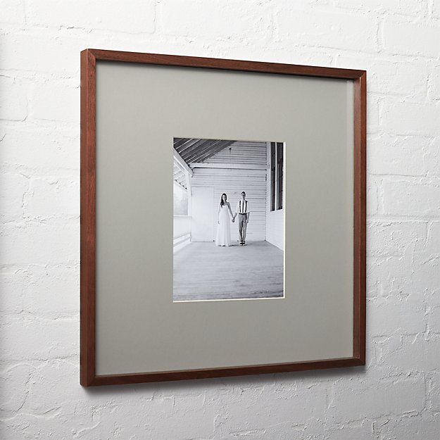 gallery walnut 8x10 picture frame with grey mat | CB2