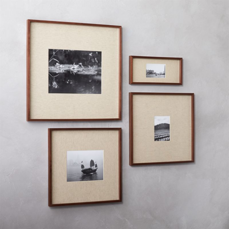 pin it gallery walnut picture frames with linen mats