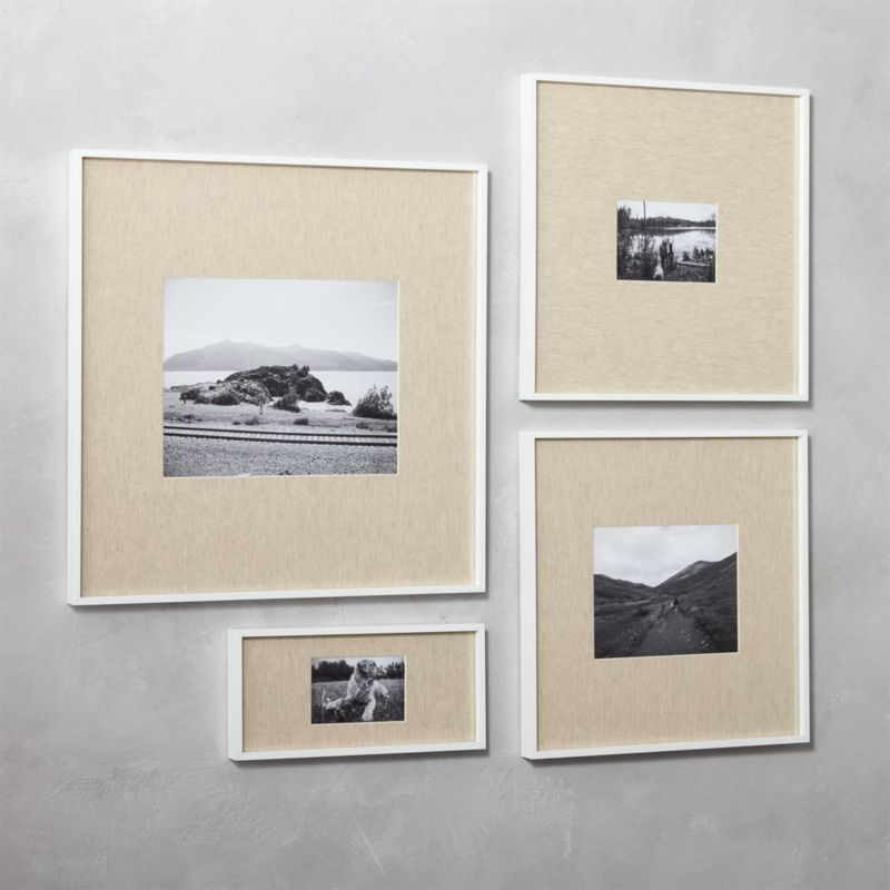 pin it gallery white picture frames with linen mats