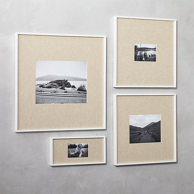 Gallery white picture frames with linen mats cb2 for 11x14 table top frame