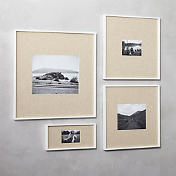gallery white picture frames with linen mats