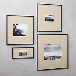 gallery carbon picture frames with linen mats