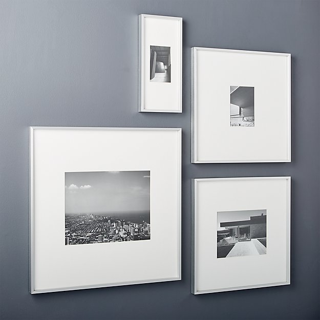 gallery brushed silver picture frames cb2 - White Gallery Frames
