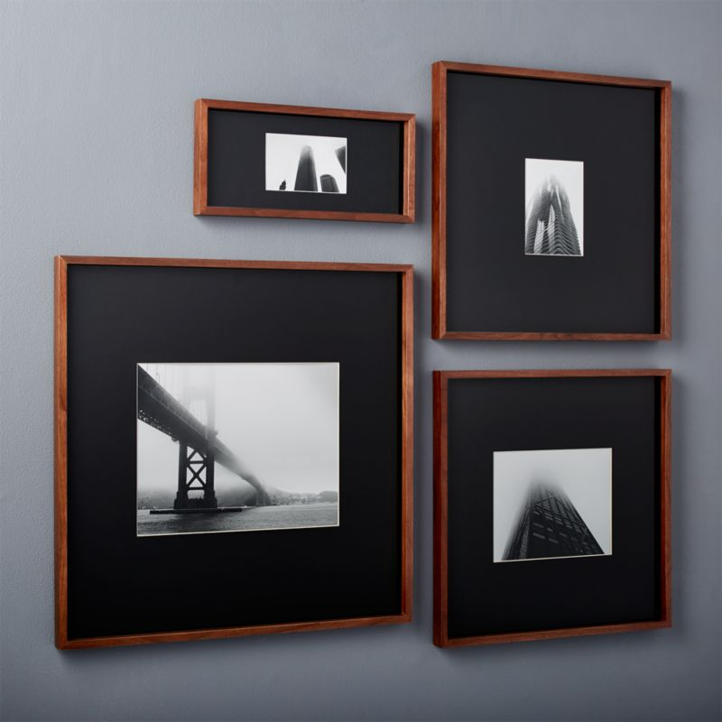 pin it gallery walnut picture frames with black mats