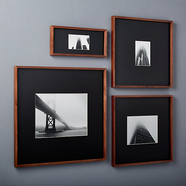 gallery walnut picture frames with black mats cb2. Black Bedroom Furniture Sets. Home Design Ideas